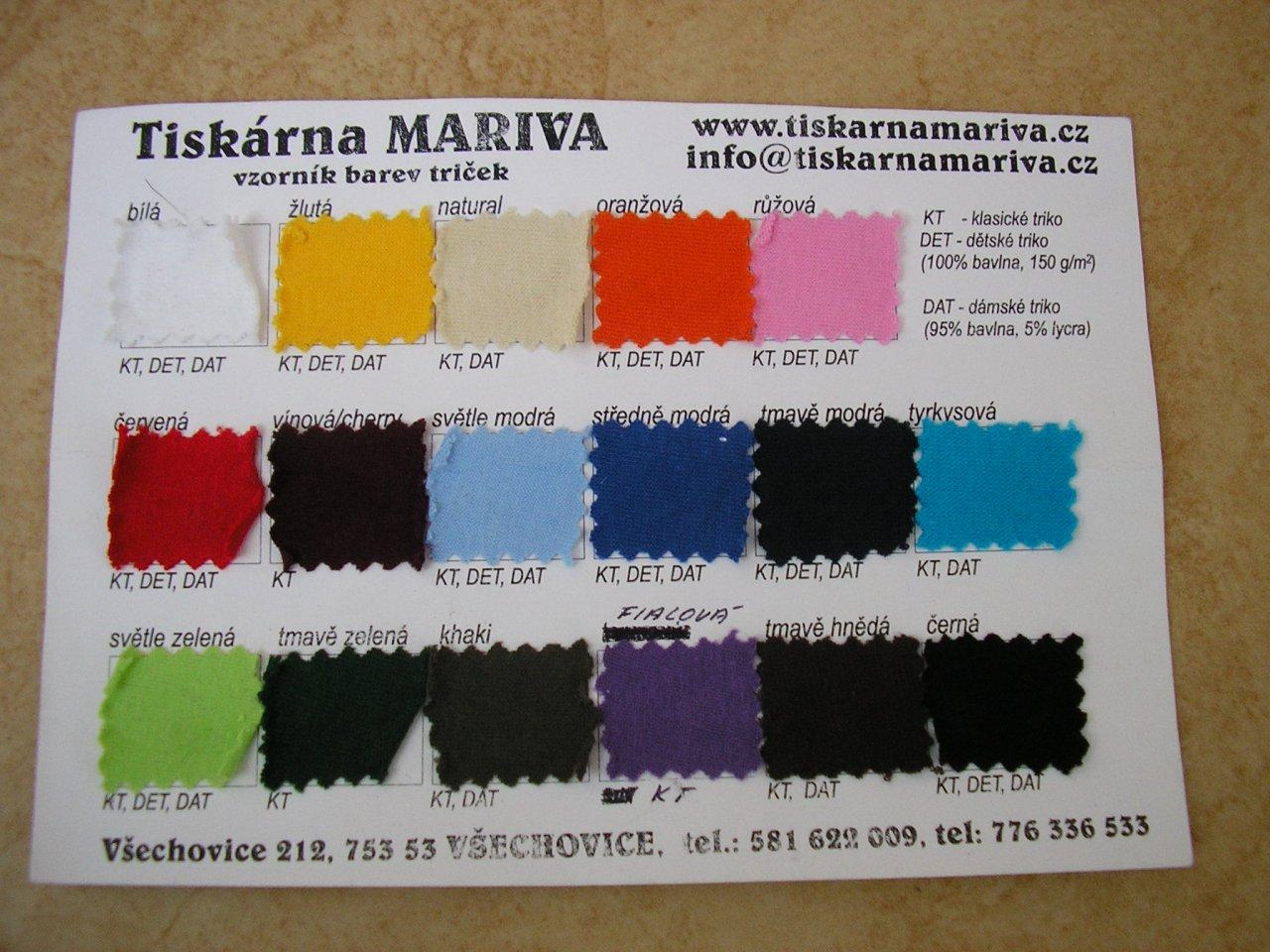 Vzorník barev z tiskárny